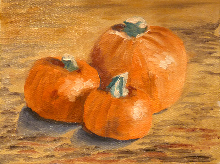 105-0401-DailyPainting#4-Three Small Pumpkins - Oct 16, 11